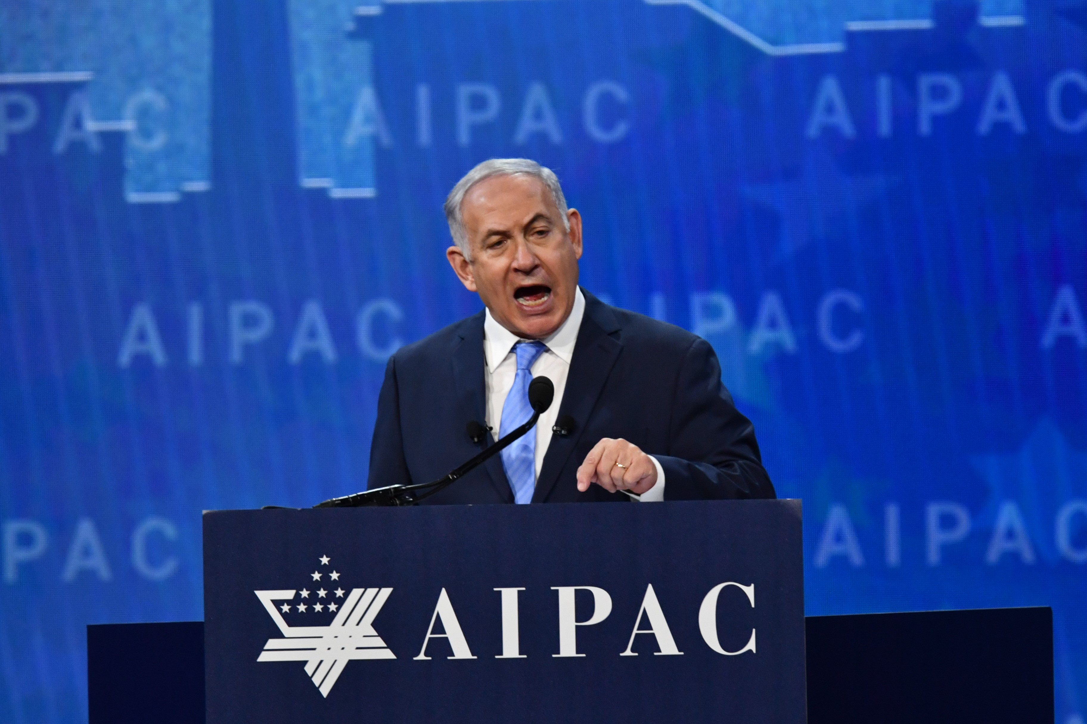 Israeli Prime Minister Benjamin Netanyahu speaks during AIPAC policy conference in Washington, DC, on 6 March 2018 (AFP)