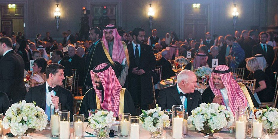 Saudi Crown Prince Mohammed bin Salman (C-R) dining with US House Speaker Paul Ryan (C-L), Republican of Wisconsin, during the Saudi-US Partnership Gala event in Washington, DC, along with former US Vice President Dick Cheney (4th-R), former Saudi Ambassador to the US Prince Bandar bin Sultan