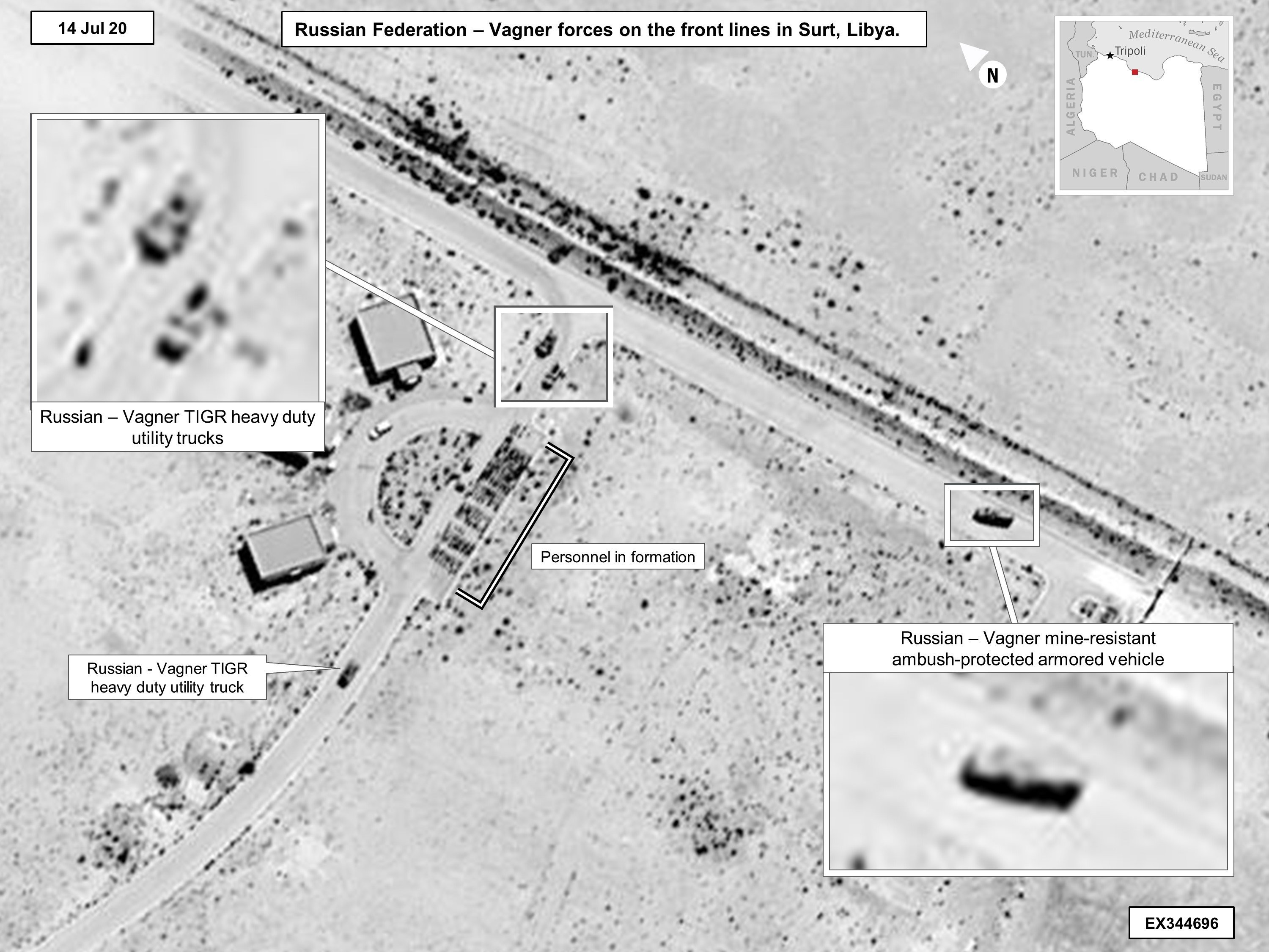 This 14 July, 2020, satellite image released by the US reportedly shows Wagner utility trucks and Russian mine-resistant, ambush-protected armoured vehicles in Sirte, Libya (AFP)