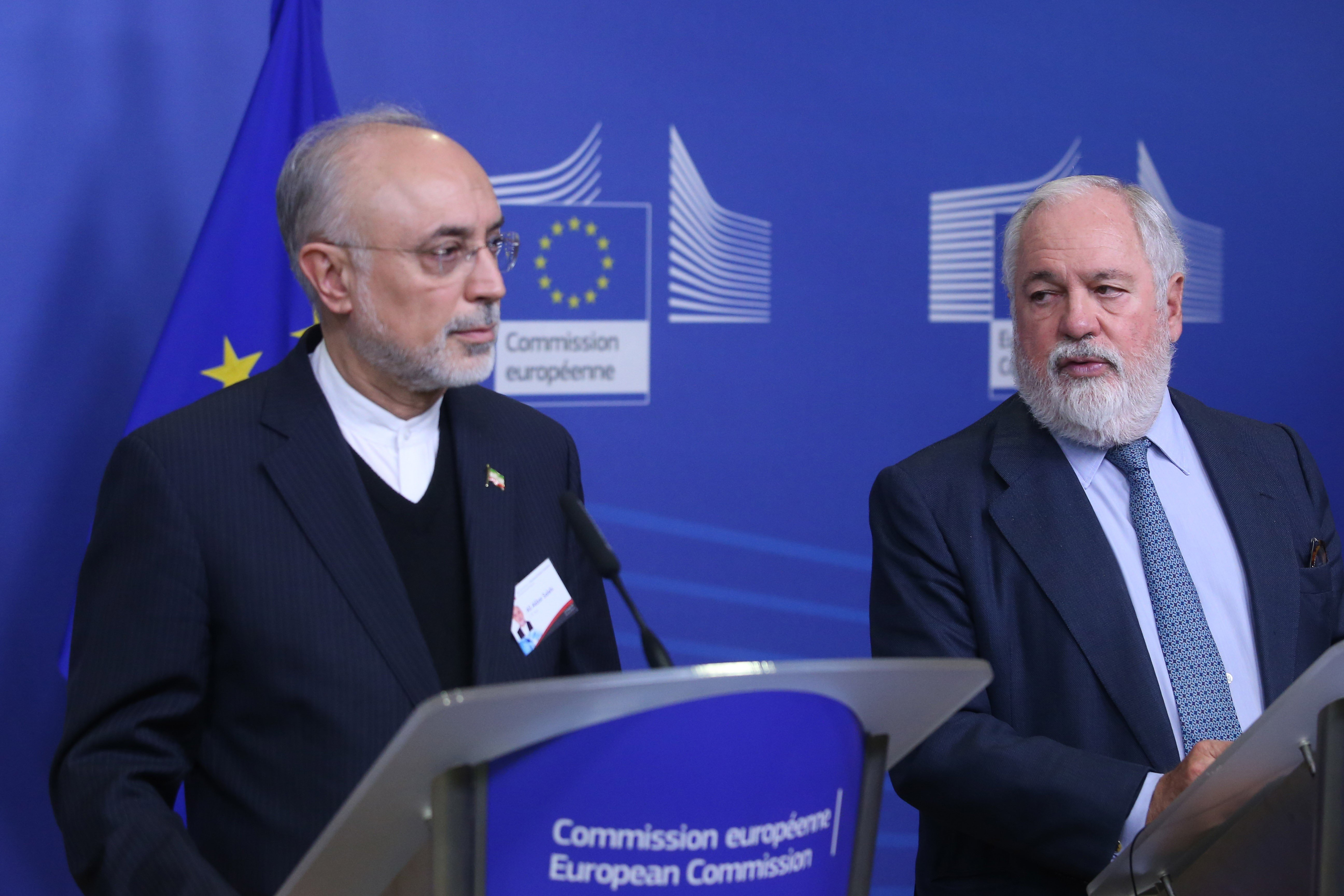 Miguel Arias Canete, right, European Commissioner for Climate Action and Energy, and Ali Akbar Salehi, head of the Atomic Energy Organisation of Iran in November 2018 (AFP)