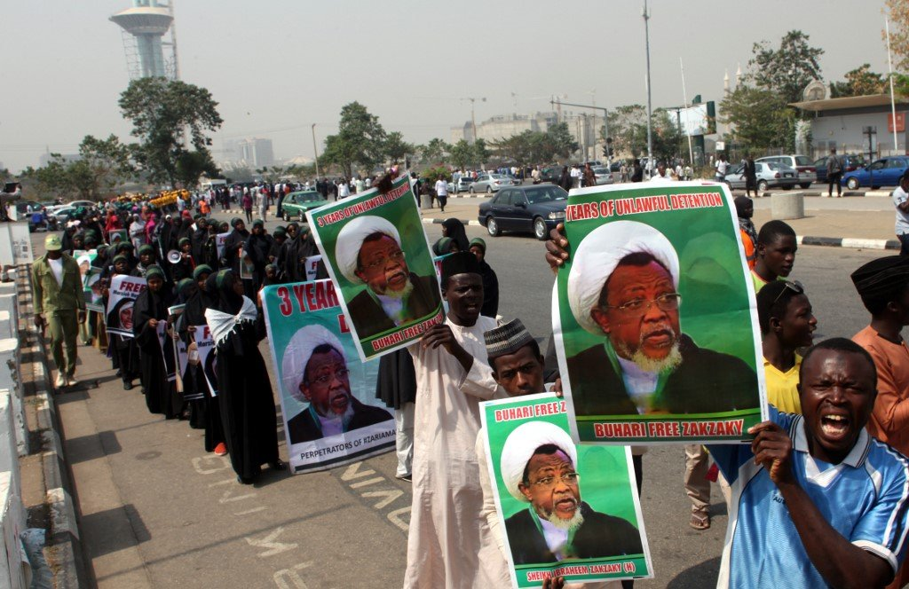 IMN members have been holding demonstrations to demand Zakzaky's release for three years (AFP)