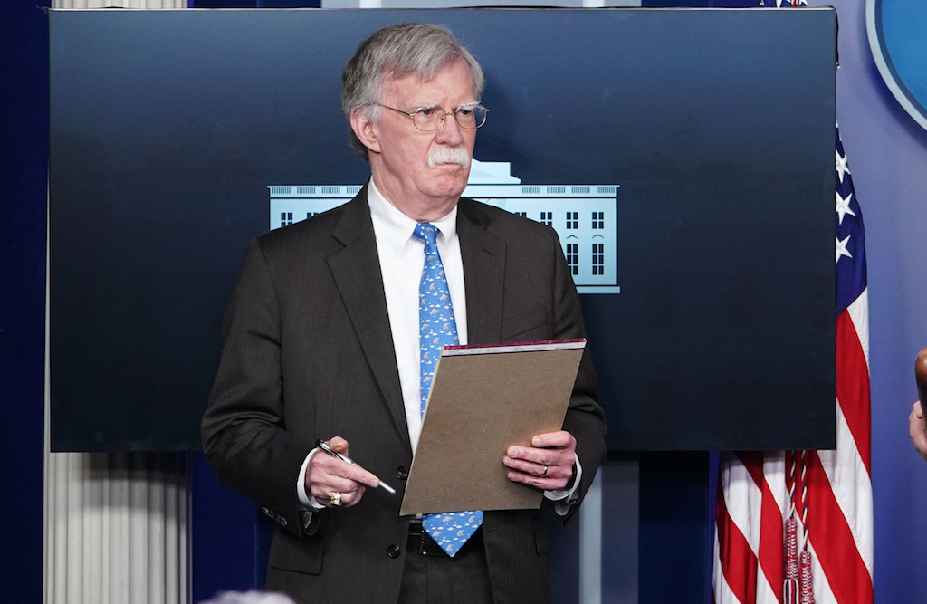 iefNational Security Advisor John Bolton takes part in a briefing in the Brady Bring Room of the White House (AFP)