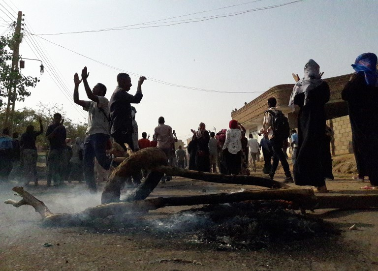 Protesters demonstrate in the Sudanese city of Omdurman on 31 January (AFP)