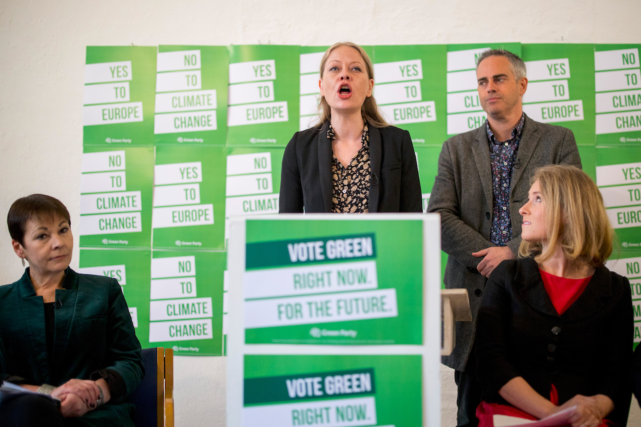 Green Party co-leader Sian Berry speaks during the launch of the Green Party's European election campaign in central London (AFP)