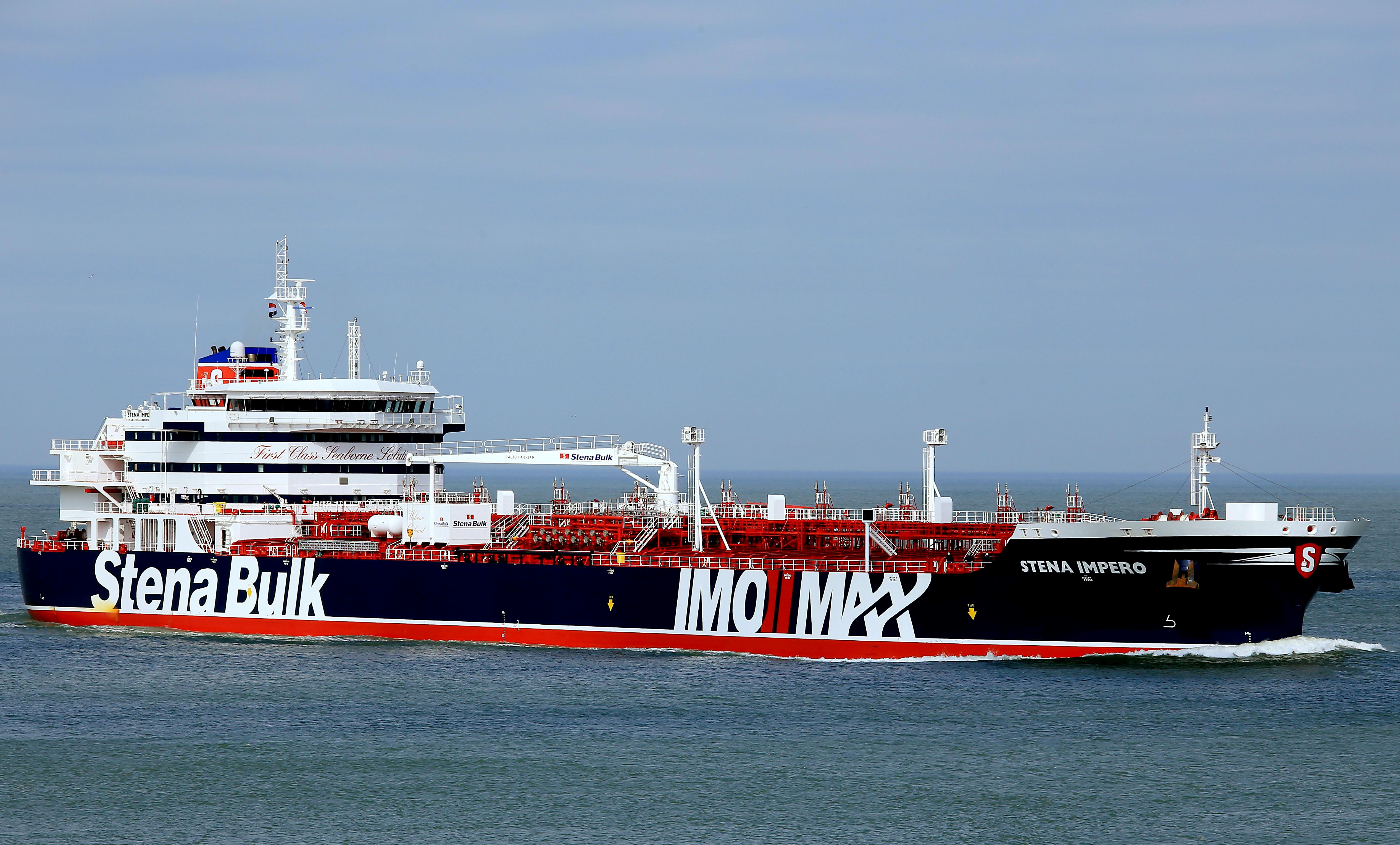 The British-flagged tanker Stena Impero seized by Iran is now at anchor off the port of Bandar Abbas on 20  July (AFP)