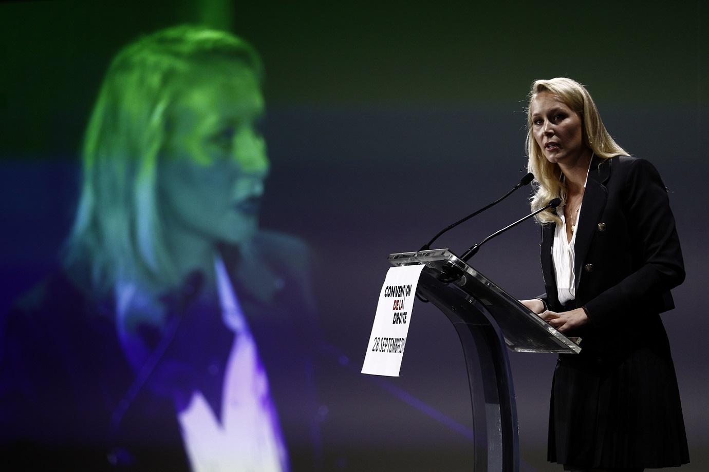 Marion Maréchal prononce un discours lors de la Convention de la droite à Paris, le 28 septembre 2019 (AFP)