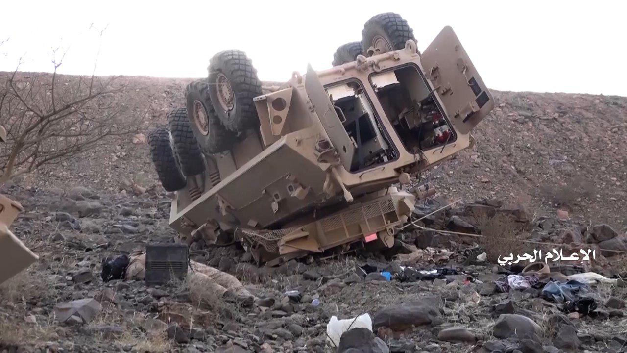 An image of an armoured vehicle the Houthis say they destroyed in an attack on the Saudi border (Screenshot)