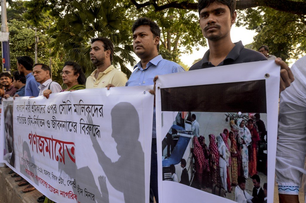 Social activists in Dhaka protest against abuse of female migrant workers inside Saudi Arabia (AFP)