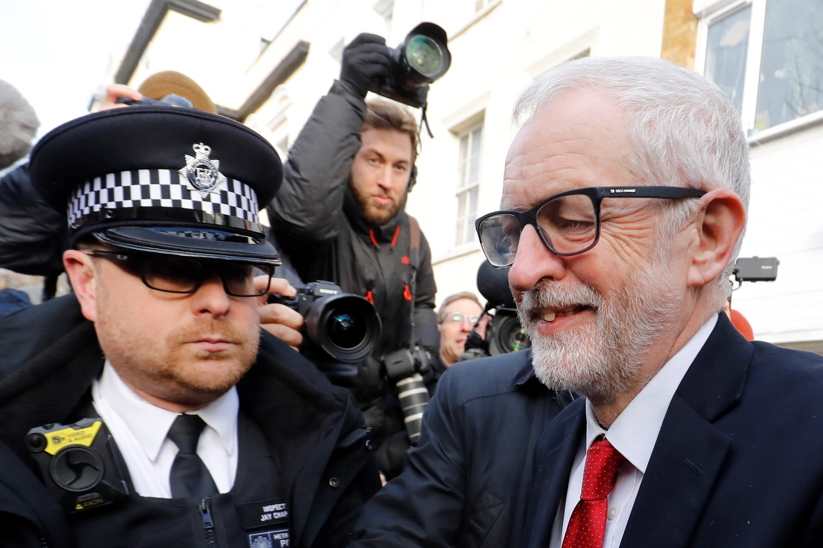 Opposition Labour party leader Jeremy Corbyn leaves his home in north London on December 13, 2019