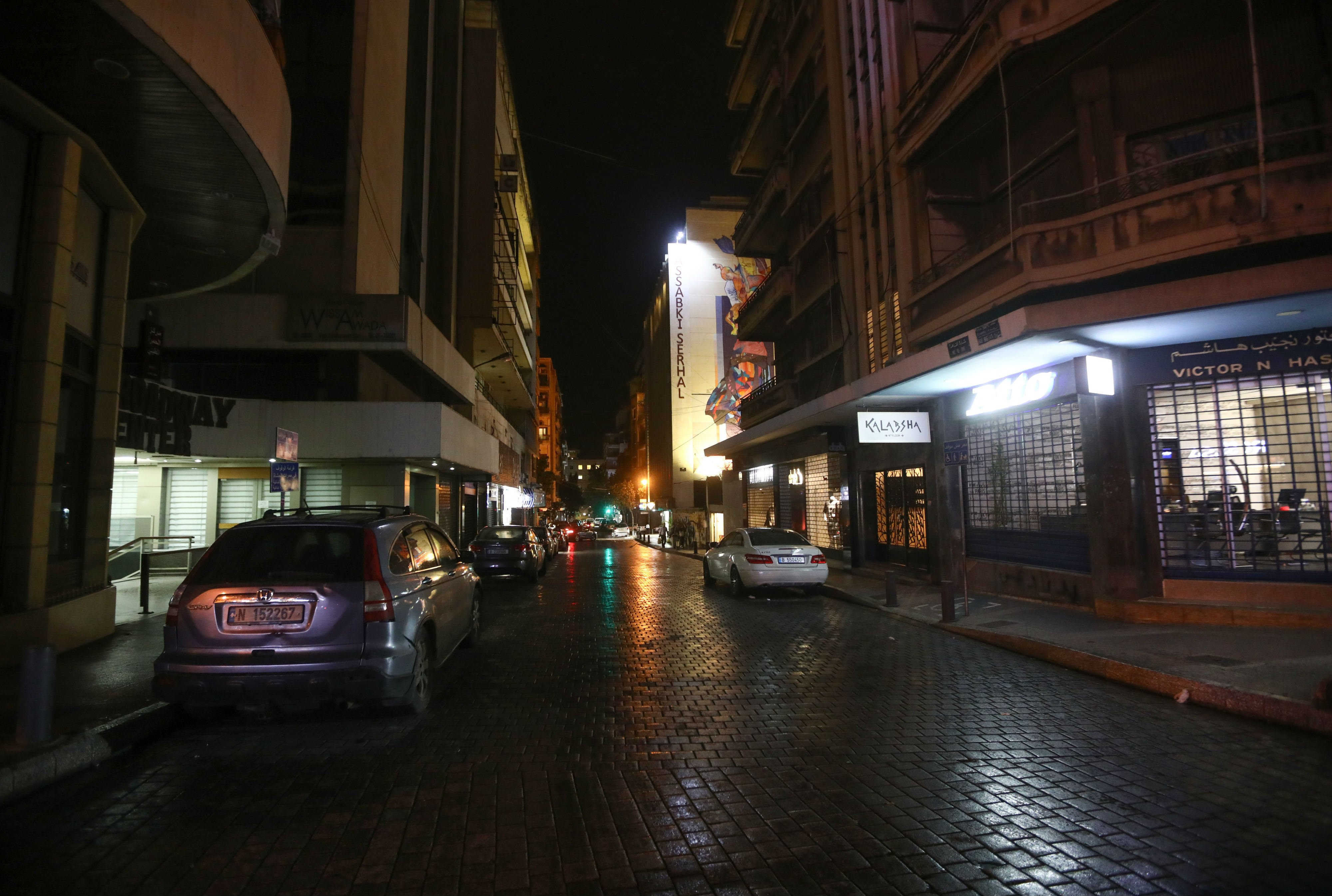 Hamra street in the Lebanese capital Beirut, known for its bustling nightlife, empty, after measures were taken in order to prevent the spread of the coronavirus (AFP)