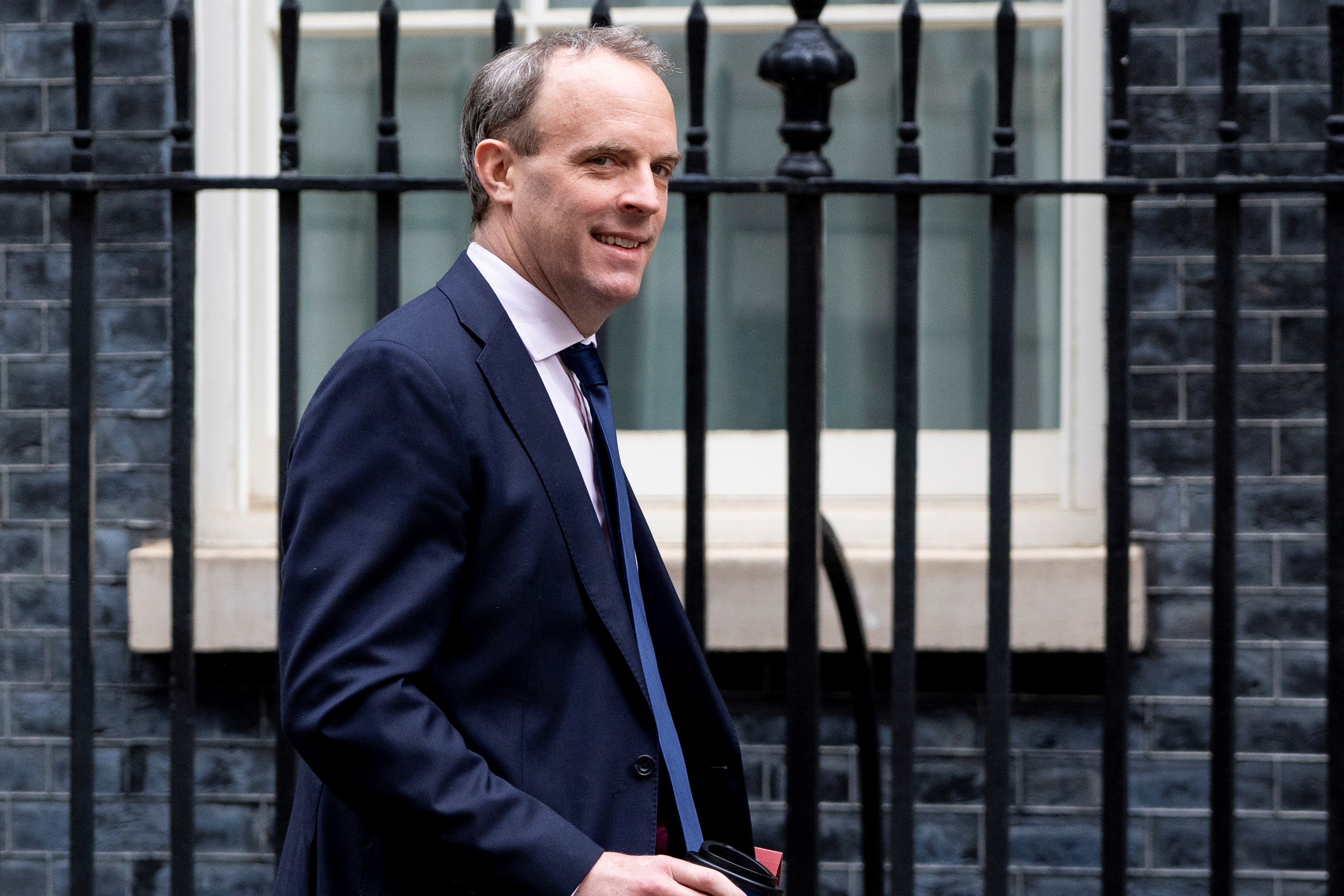Britain's Foreign Secretary Dominic Raab arrives in Downing Street in central London on April 30, 2020 for the daily novel coronavirus COVID-19 briefing