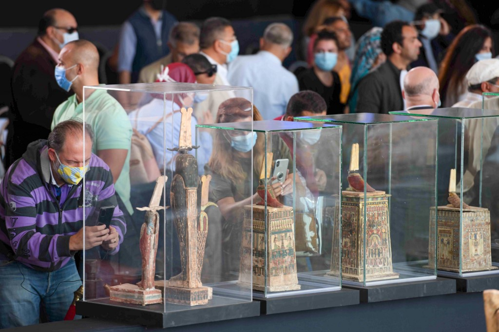 Wooden statues were also found earlier this month (AFP)