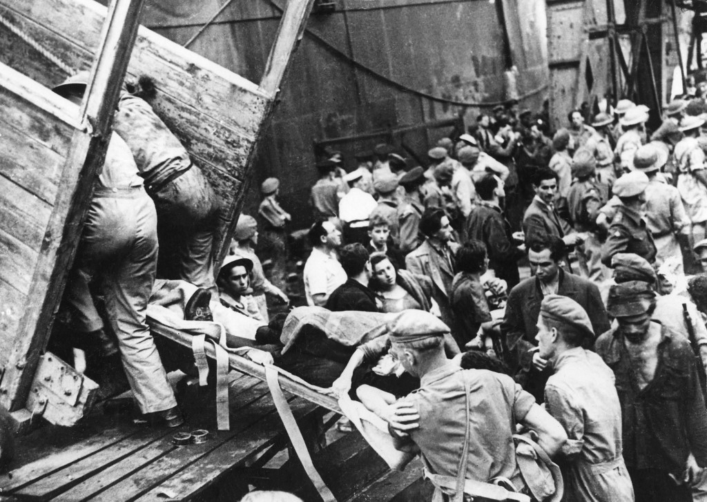 About 3,500 Jewish immigrants are turned back by English soldiers in Haifa, Palestine, under the British mandate in 1946 (AFP)