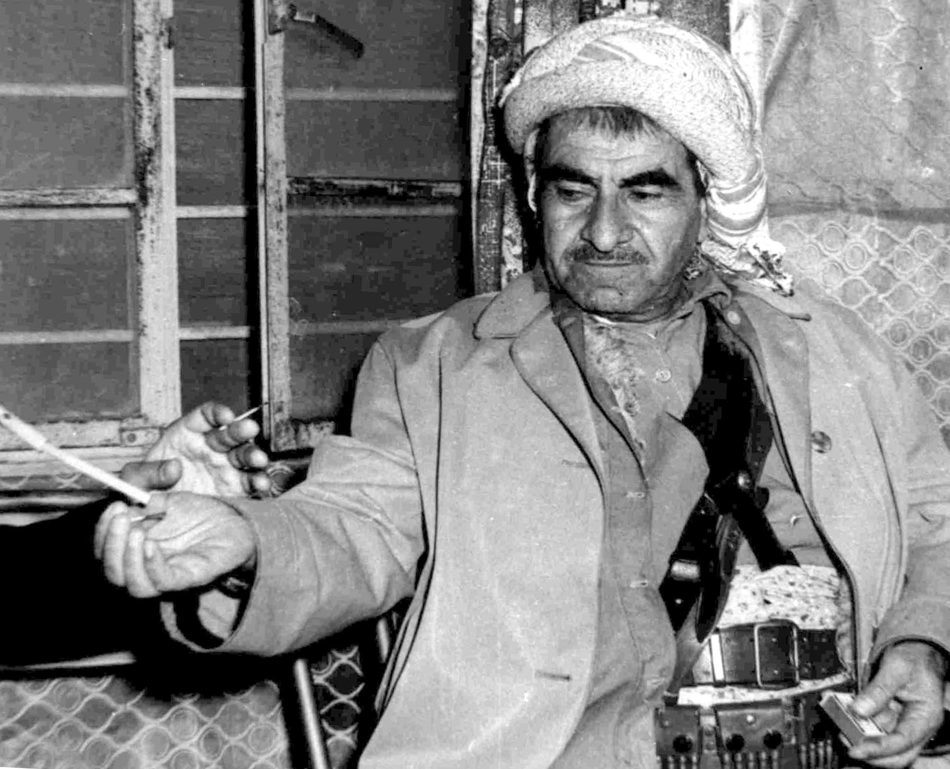 An undated picture taken in the 1960s in the Kurdish mountains of northern Iraq shows Kurdish leader Mulla Mustafa Barzani (AFP)