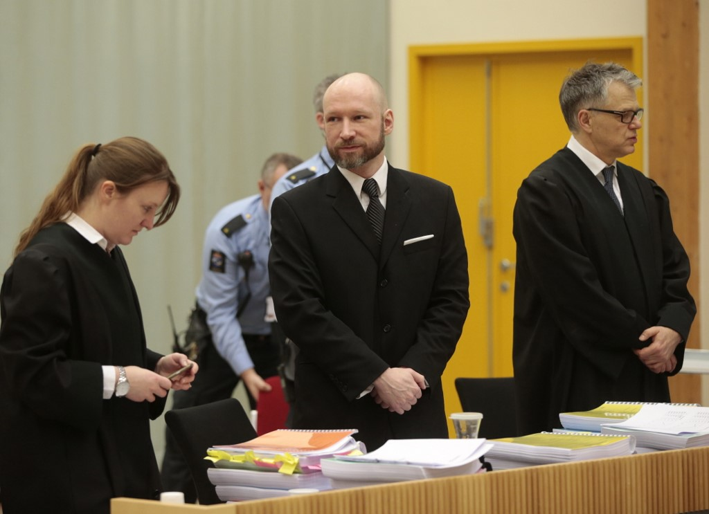 Mass murderer Anders Behring Breivik appears in a Norwegian court in 2017 (AFP)
