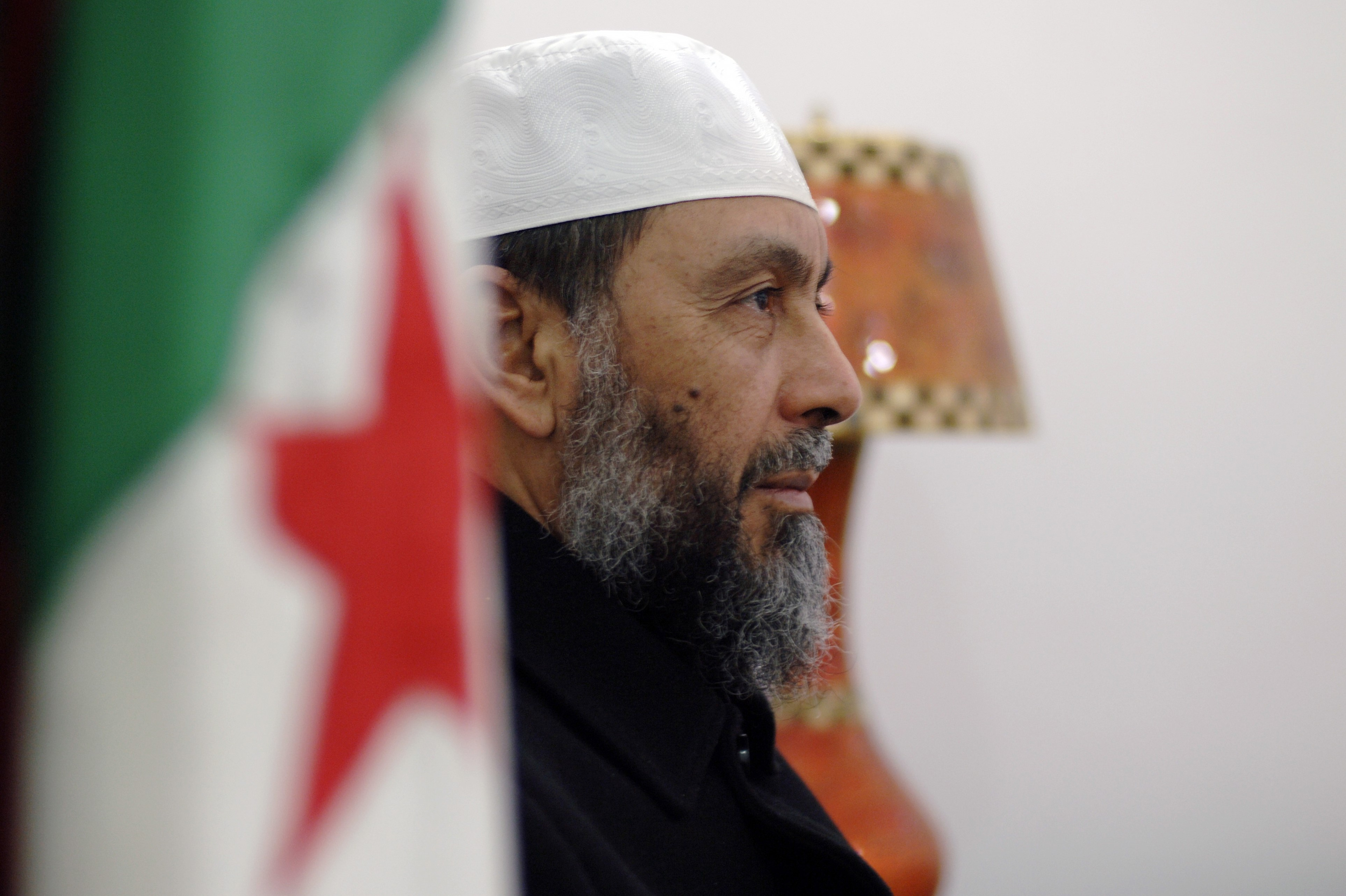 Abdellah Djaballah, the head of Algeria's Islamist Front for Justice and Development (FJD), poses at the party's headquarters in the capital Algiers on 15 January 2017 (AFP)
