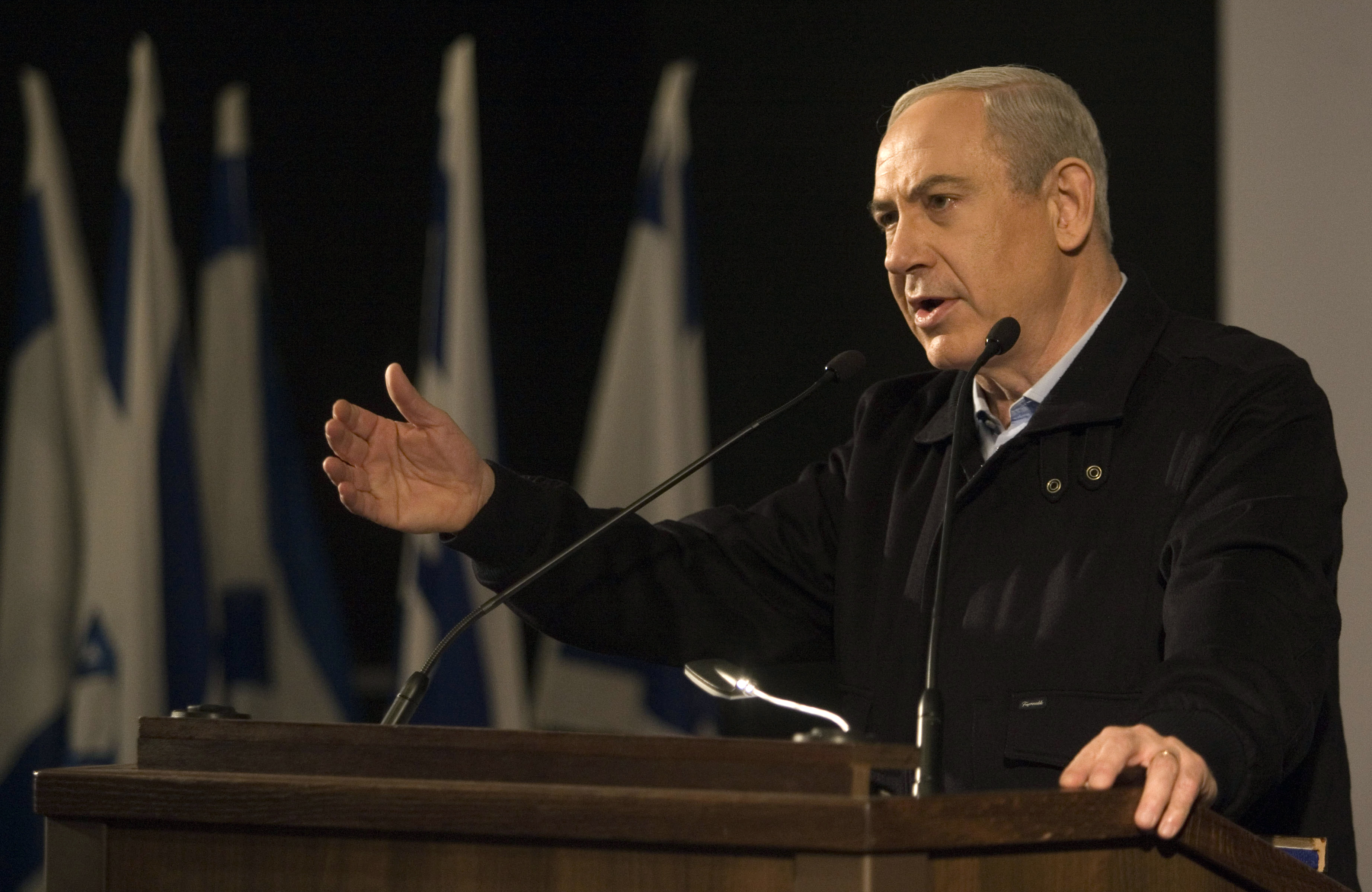 Israeli Prime Minister Benjamin Netanyahu speaks during a visit to the Ariel University (AFP)