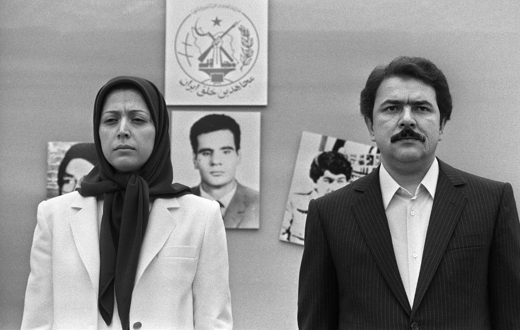 Massoud Rajavi, who led the MEK until he disappeared in 2003, and his wife Maryam, who now leads the group seen in Paris in 1985 (AFP)
