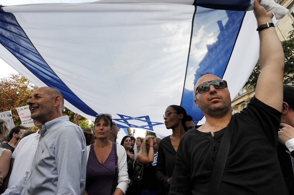 A demonstration by the CRIF takes place outside the Israeli embassy in Paris in 2014 (AFP)