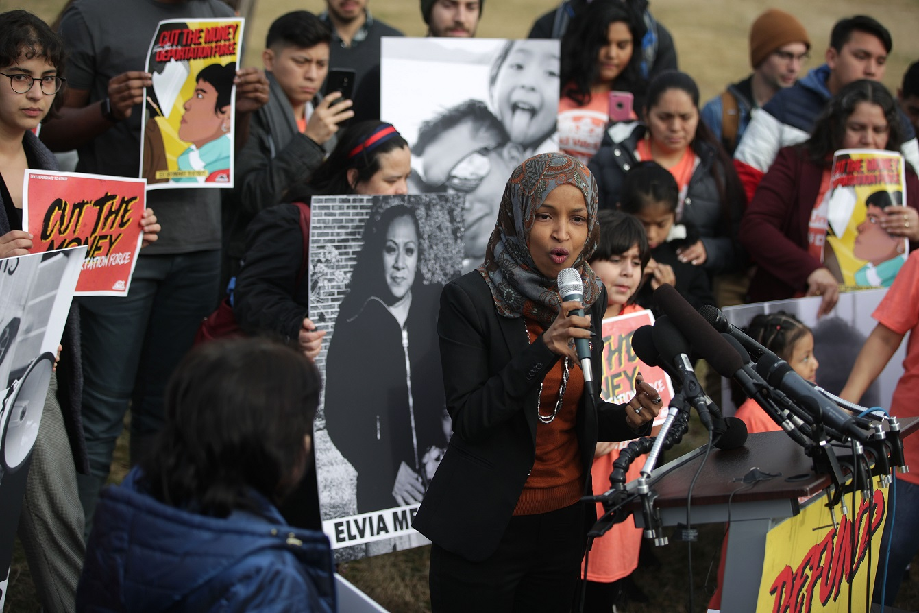 Omar speaking in Washington in February. Since she entered Congress, the attacks on her have become ludicrous, even dangerous (Alex Wong / AFP)