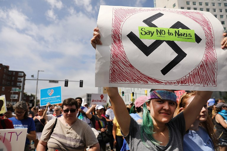 Protesters in Boston march against white nationalists in 2017 (AFP)