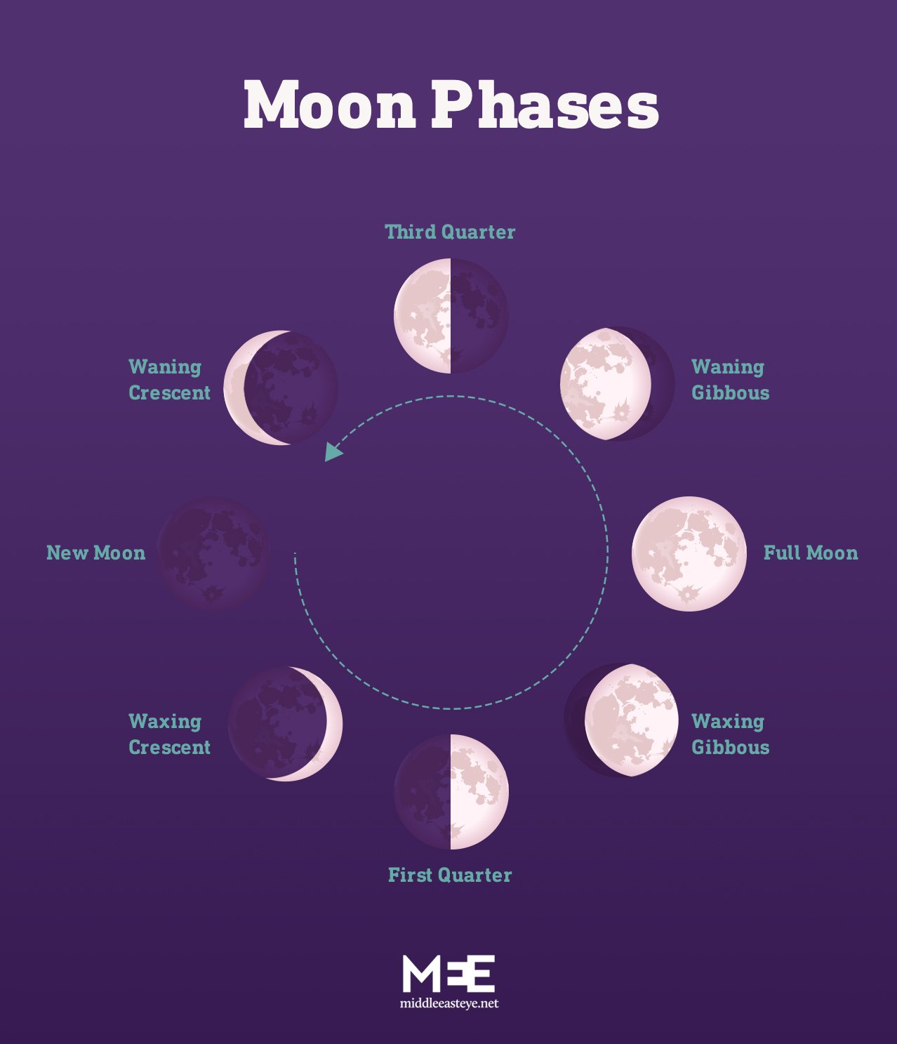 Different phases showing how the moon looks throughout the lunar month (MEE Graphics)