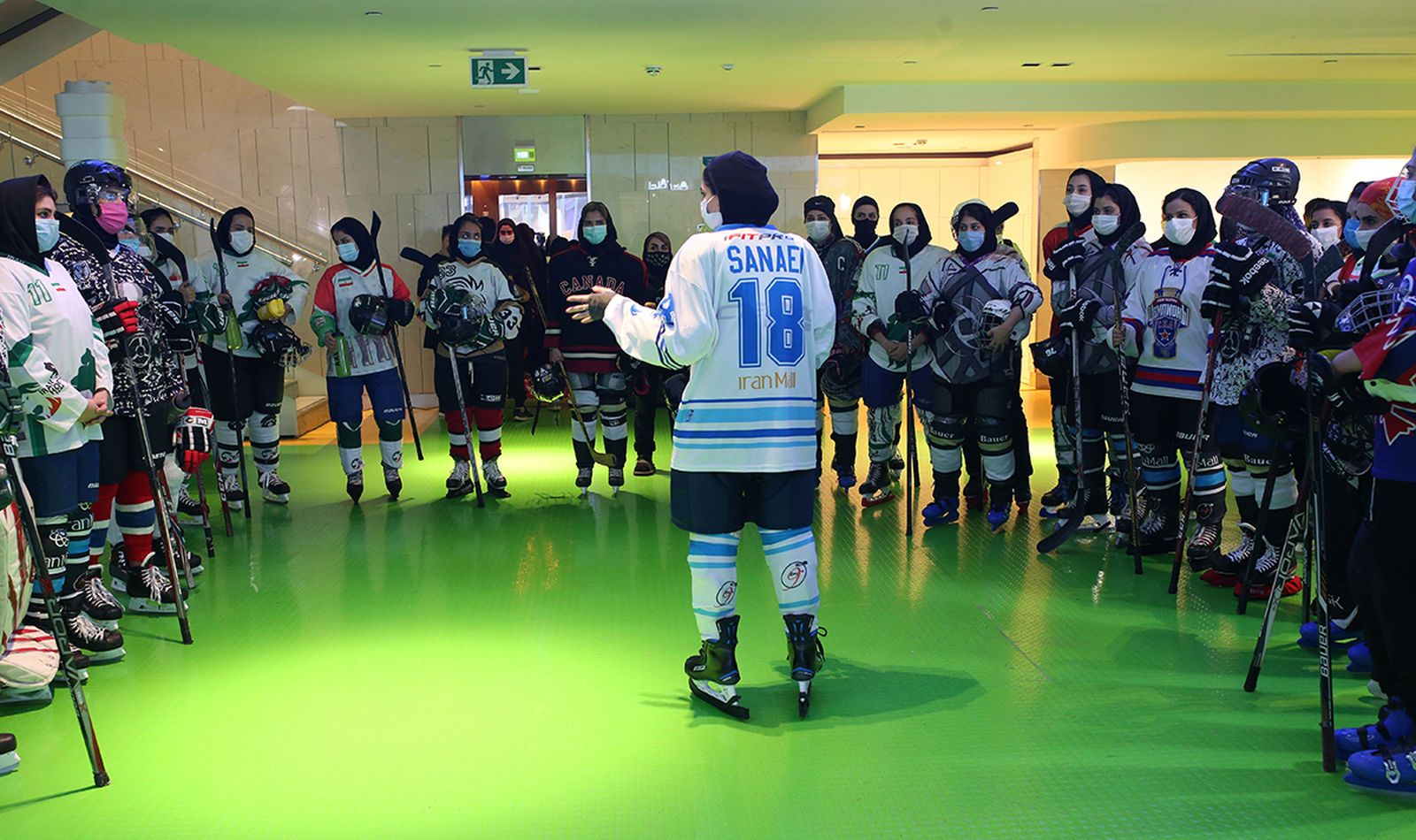 Azam Sanaei briefs hopefuls trying to make the cut for the Iranian hockey team