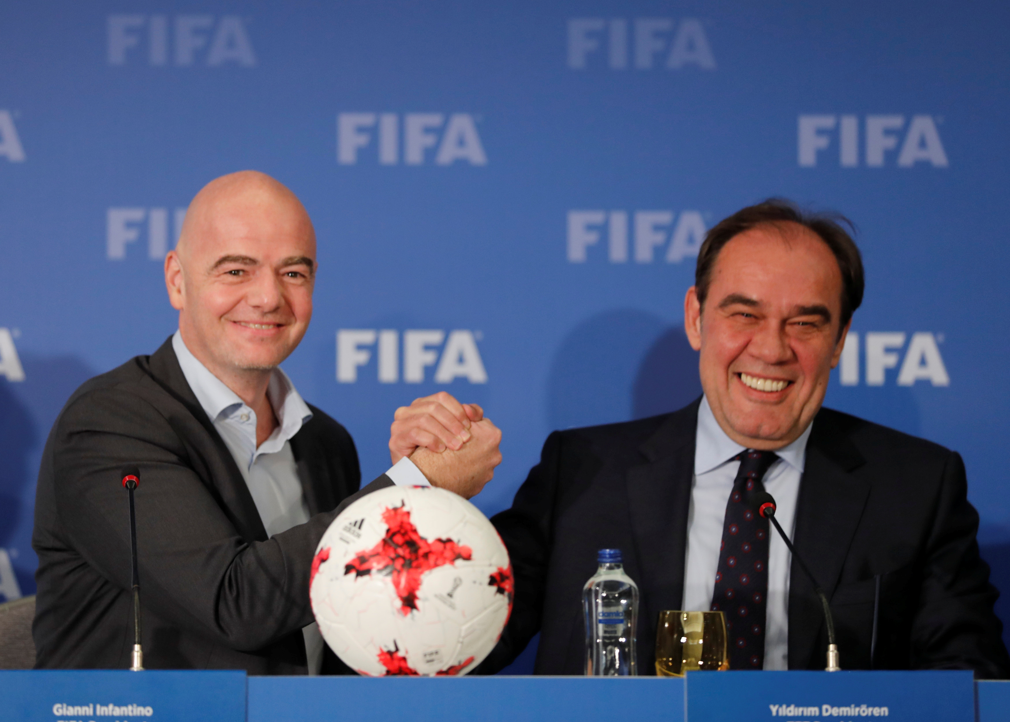 FIFA President Gianni Infantino (L) holds a news conference with Turkish Football Federation (TFF) President Yildirim Demiroren in Istanbul (Reuters)
