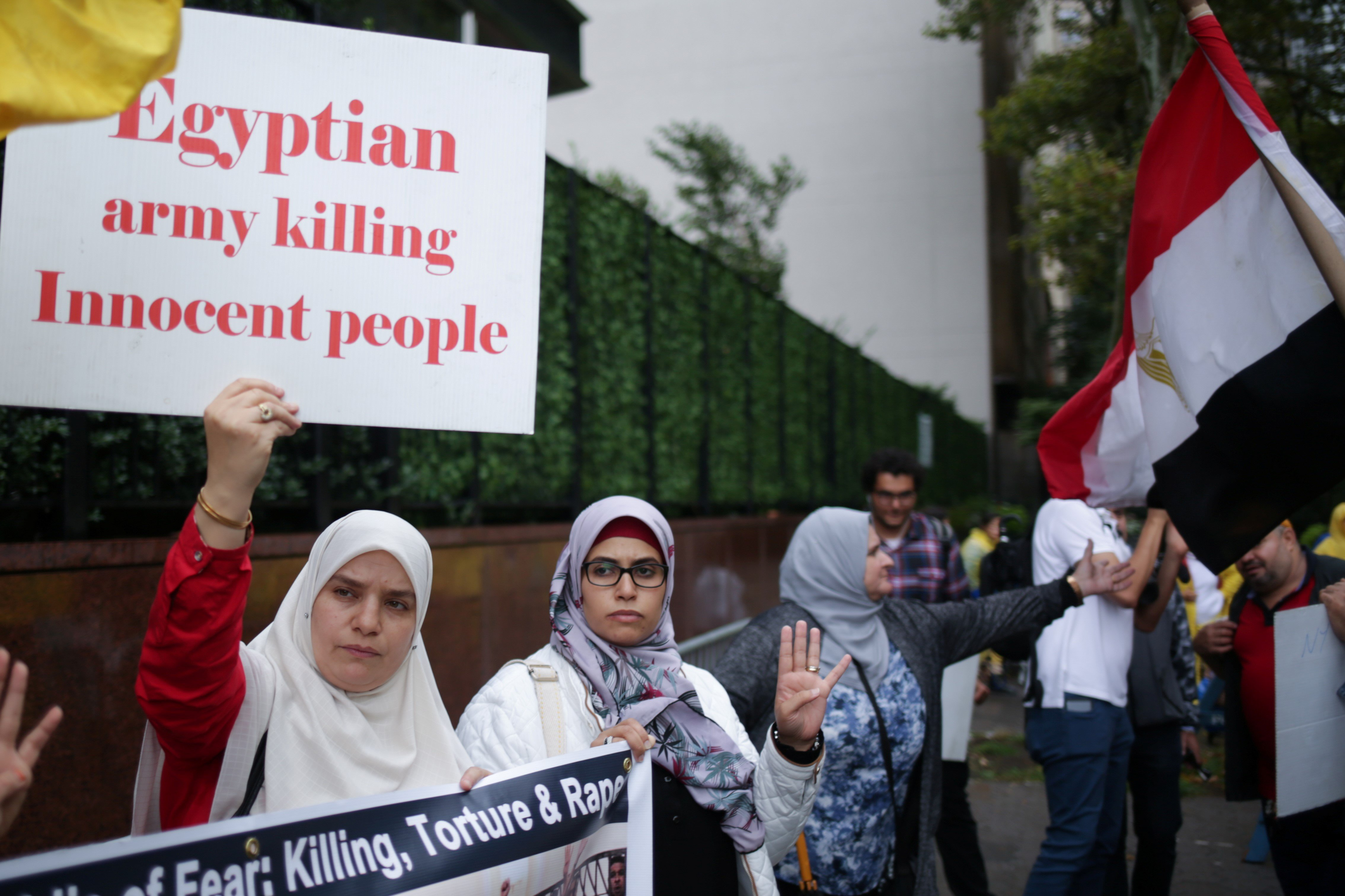Egyptian-Americans hold a protest outside the UN headquarters during the United Nations General Assembly in Manhattan, New York, US, on 25 September,2018 (Reuters)