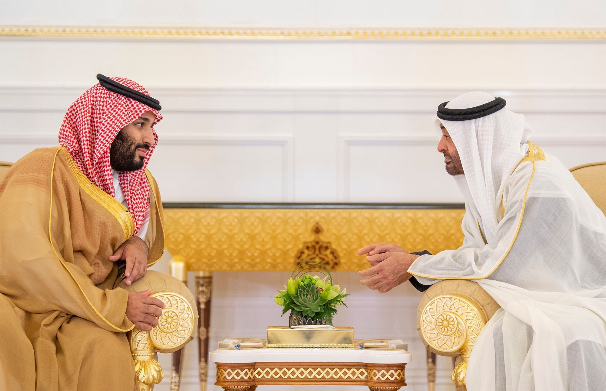 Abu Dhabi's Crown Prince Sheikh Mohammed bin Zayed al-Nahyan talks with Saudi Arabia's Crown Prince Mohammed bin Salman on 22 November, 2018 (Reuters)