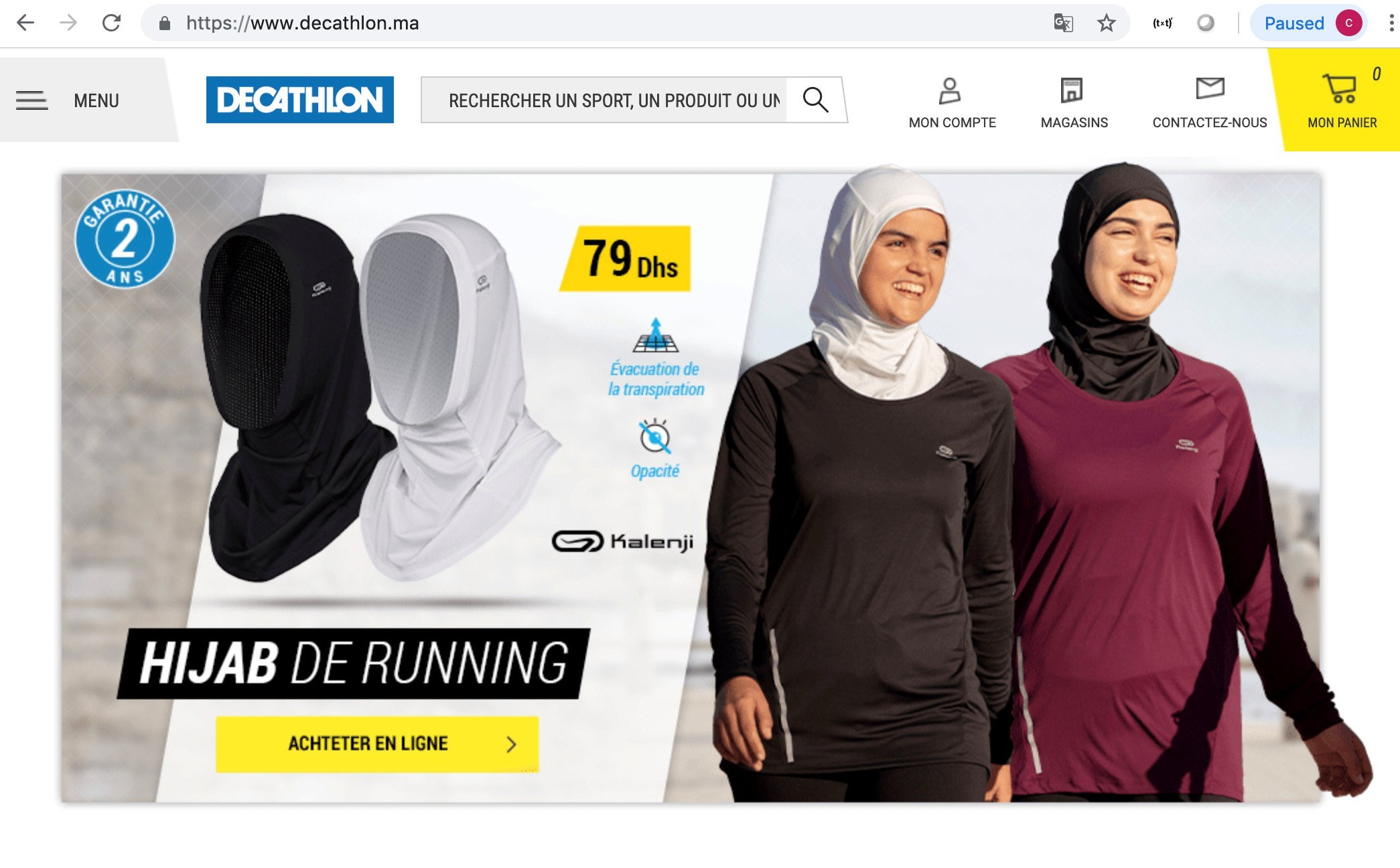 A screenshot taken on 27 February, 2019 shows hijabs for women joggers on sale on the Moroccan website of French sporting goods chain Decathlon (REUTERS)