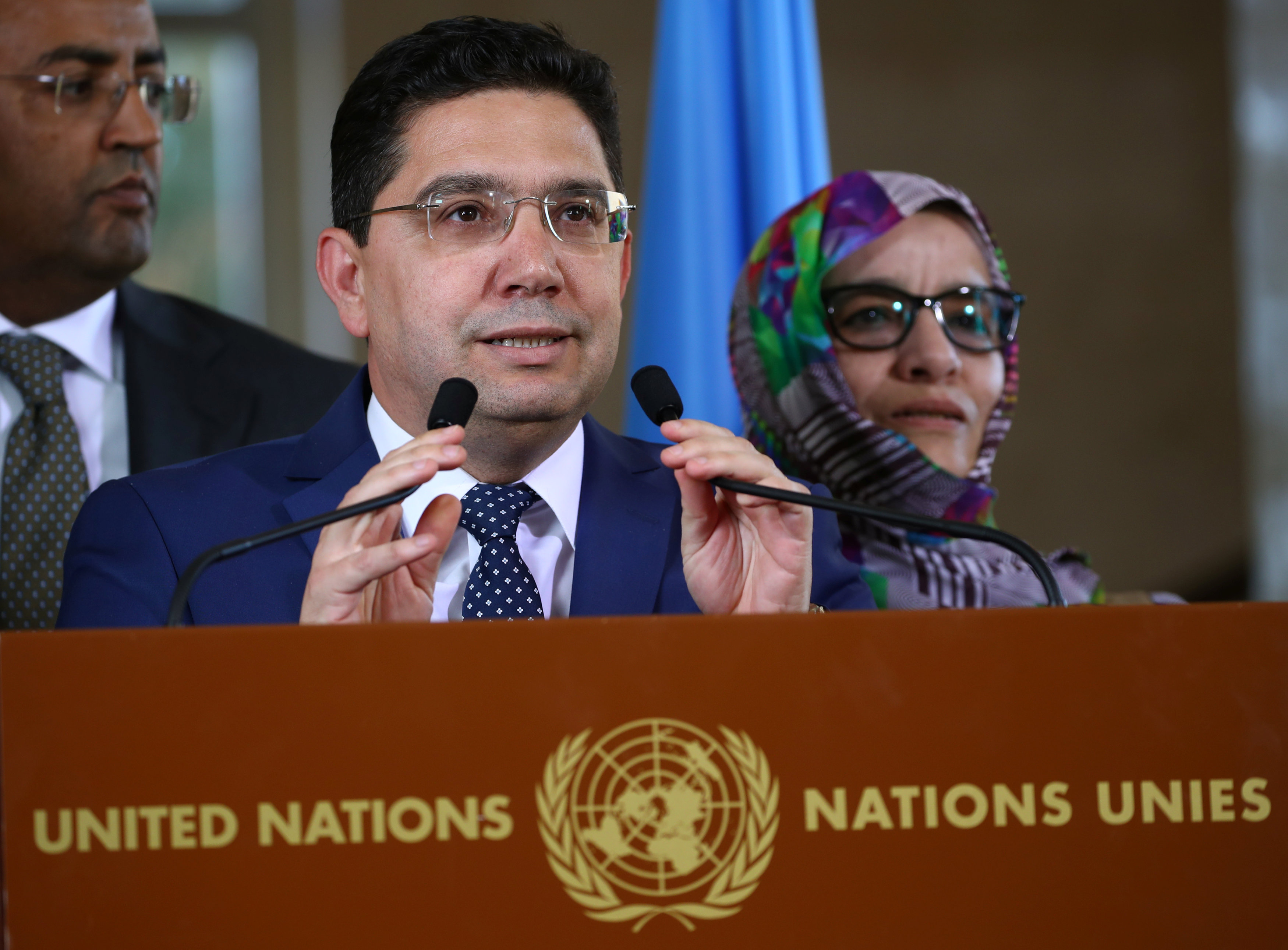 Moroccan Foreign Minister Bourita attends a news conference after a roundtable on Western Sahara at the United Nations in Geneva (Reuters)