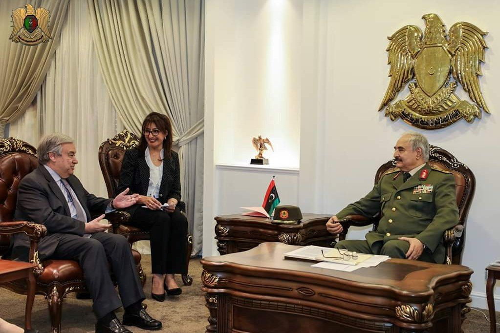 Secretary General of the United Nations Antonio Guterres meets with Libyan military commander Khalifa Haftar in Benghazi on 5 April (Reuters)