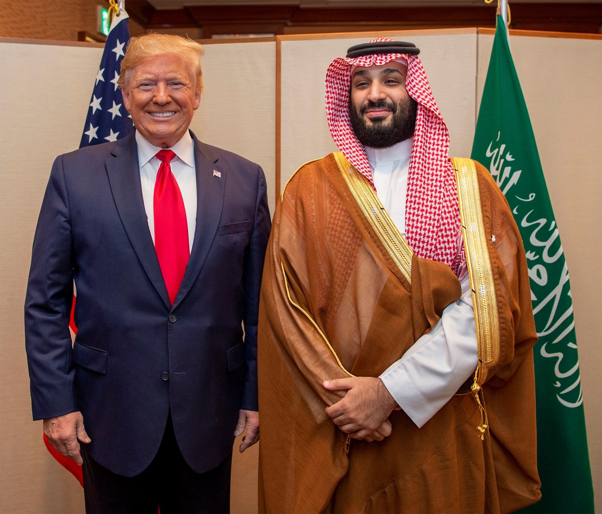 Saudi Arabia's Crown Prince Mohammed bin Salman meets with US President Donald Trump on 29 June (Reuters)