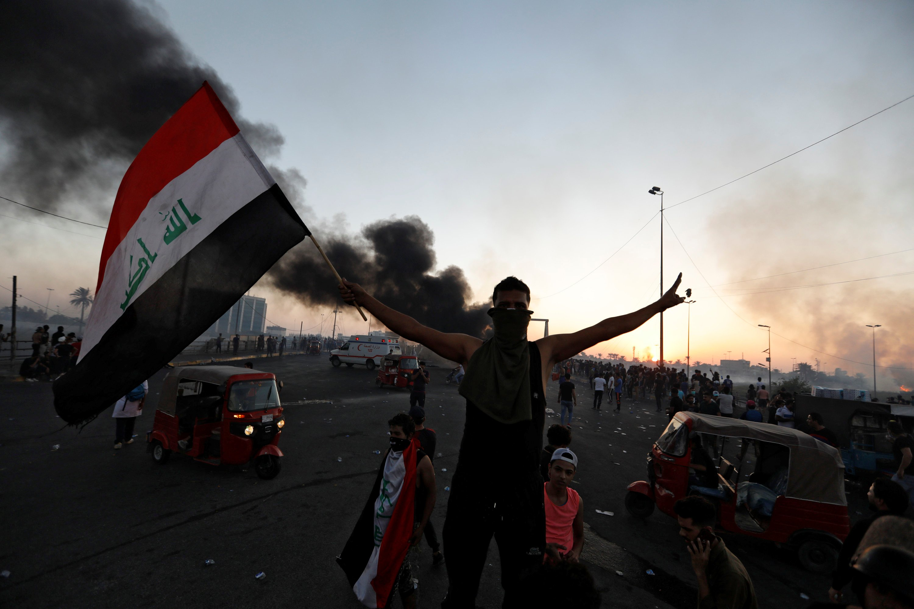 Iraqi protester during a demonstration on 5 October (Reuters)