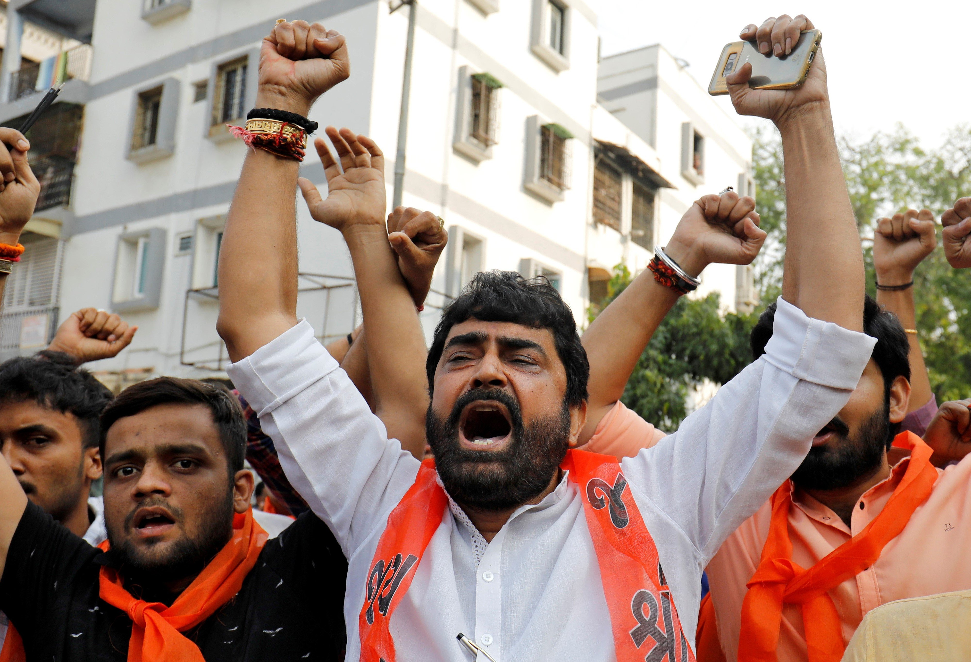 Supporters of the Vishva Hindu Parishad (VHP), a Hindu nationalist organisation (Reuters)