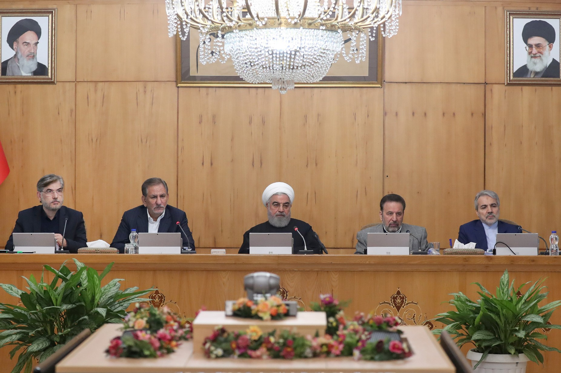 Iranian President Hassan Rouhani speaks during the cabinet meeting in Tehran, Iran, November 20, 2019