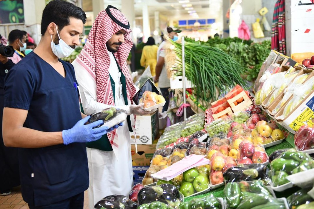 Saudi citizens in a supermarket in Riyadh on 2 April (Reuters)