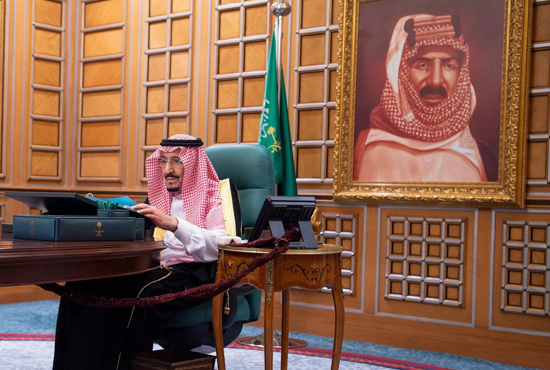 i King Salman, during a video call meeting with the Cabinet of Ministers in Riyadh, Saudi Arabia on May 13, 2020.