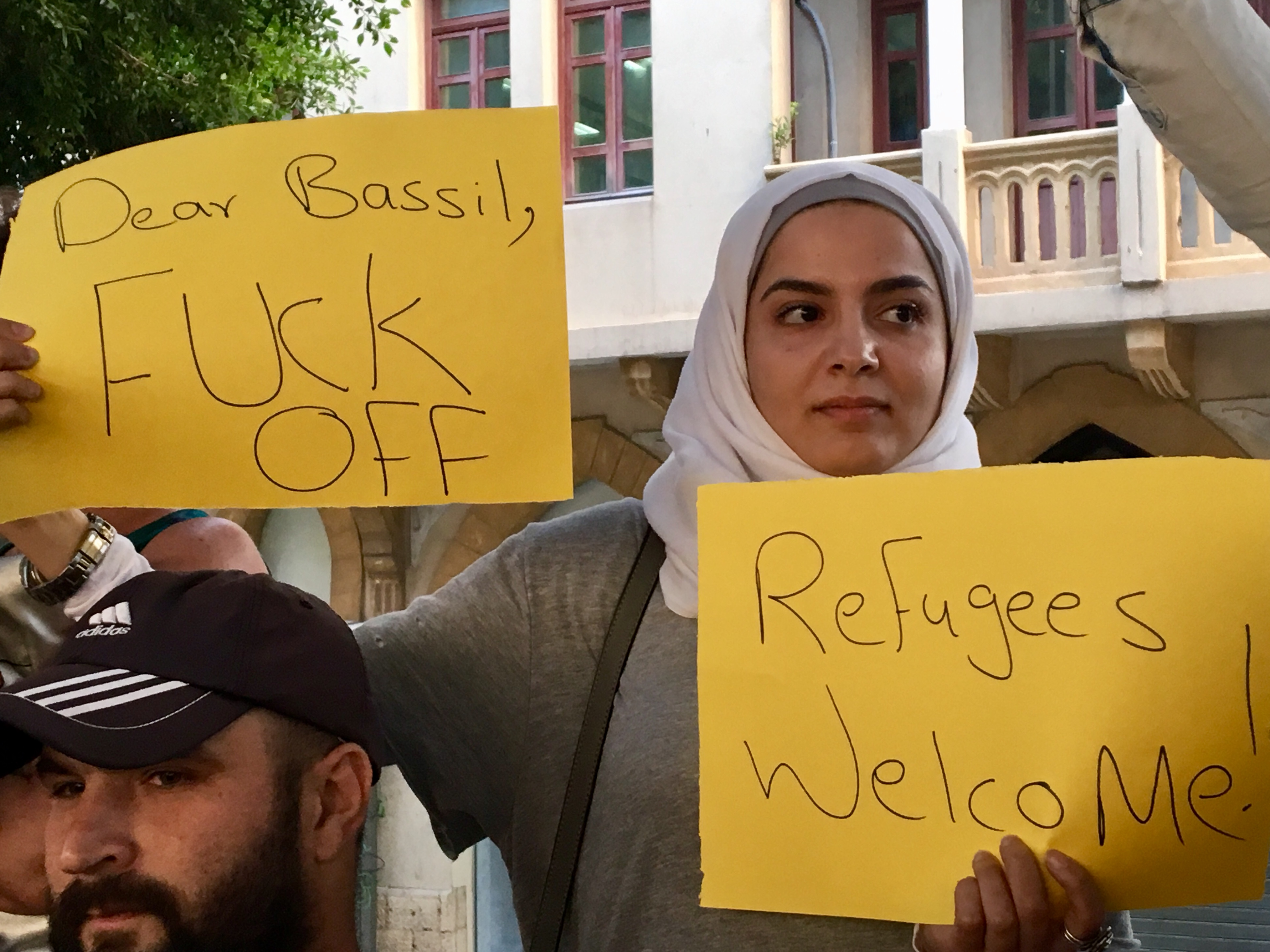 Lebanese protestors in Beirut decry comments they describe as xenophobic and racist towards Syrian refugees by Foreign Minister Gebran Bassil and other officials (MEE/Kareem Chehayeb)