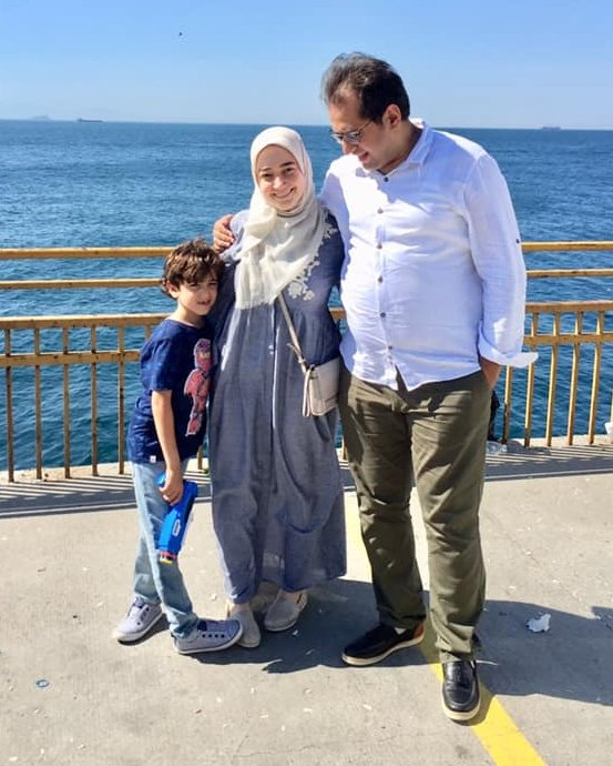 Eltaweel with her husband and their son Yahya (Arwa Eltaweel)