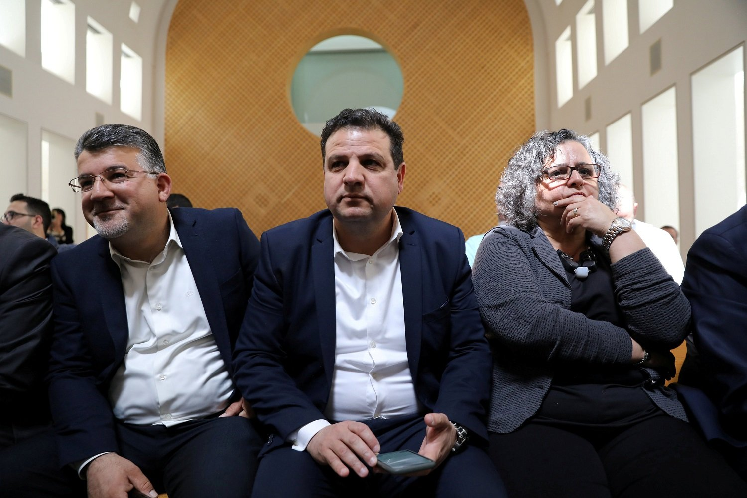 Ayman Odeh, centre, attends a hearing at Israel's Supreme Court in Jerusalem in March 2019 (Reuters)