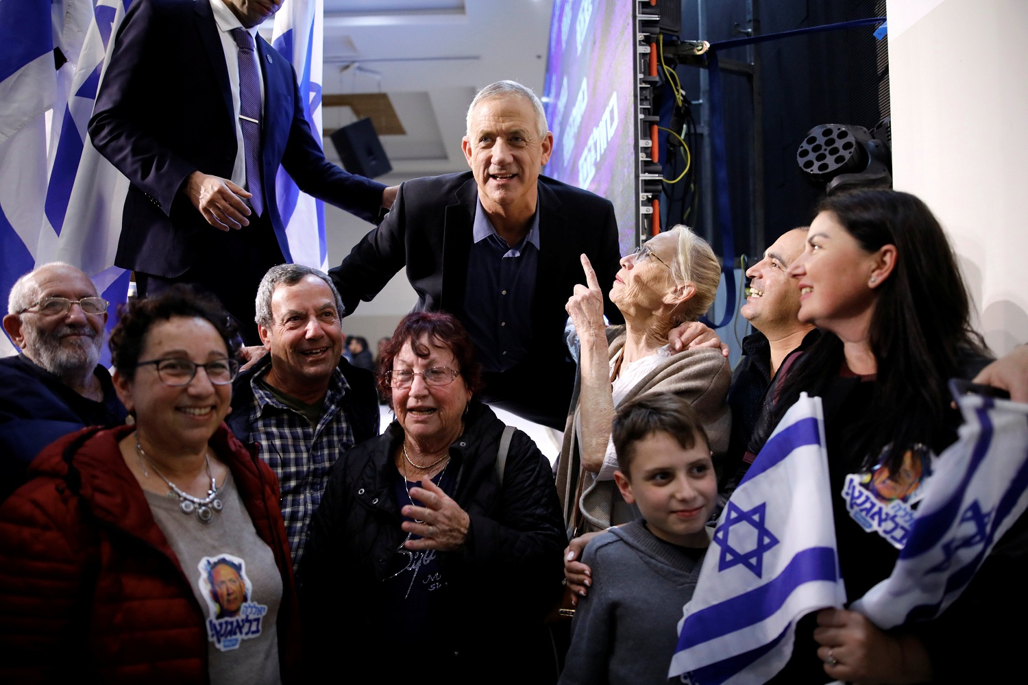 Benny Gantz with his supporters during an election campaign event in Ashkelon on 3 April 3, 2019 (Reuters)