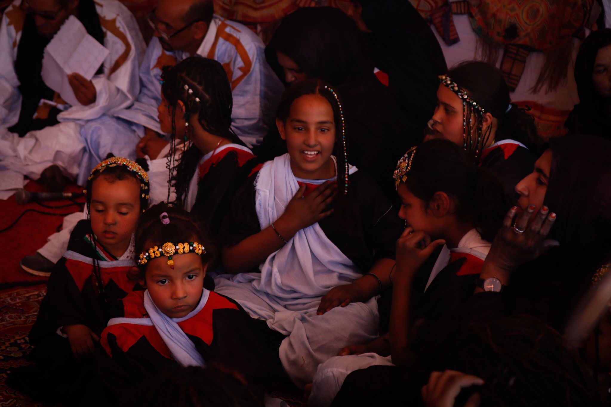 Young people attend the cultural tent in the Tindouf camps (CREDIT)