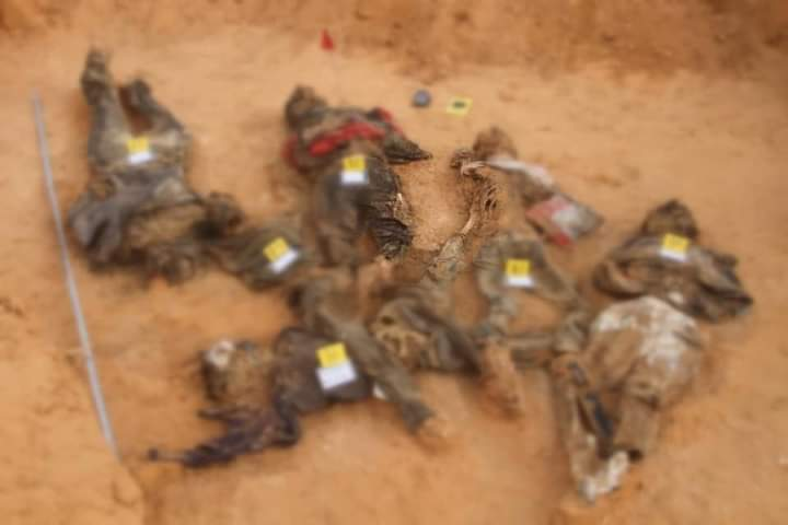 Six corpses found in a mass grave in the Libyan town of Tarhuna in October. Around 100 bodies have been discovered so far (Supplied)