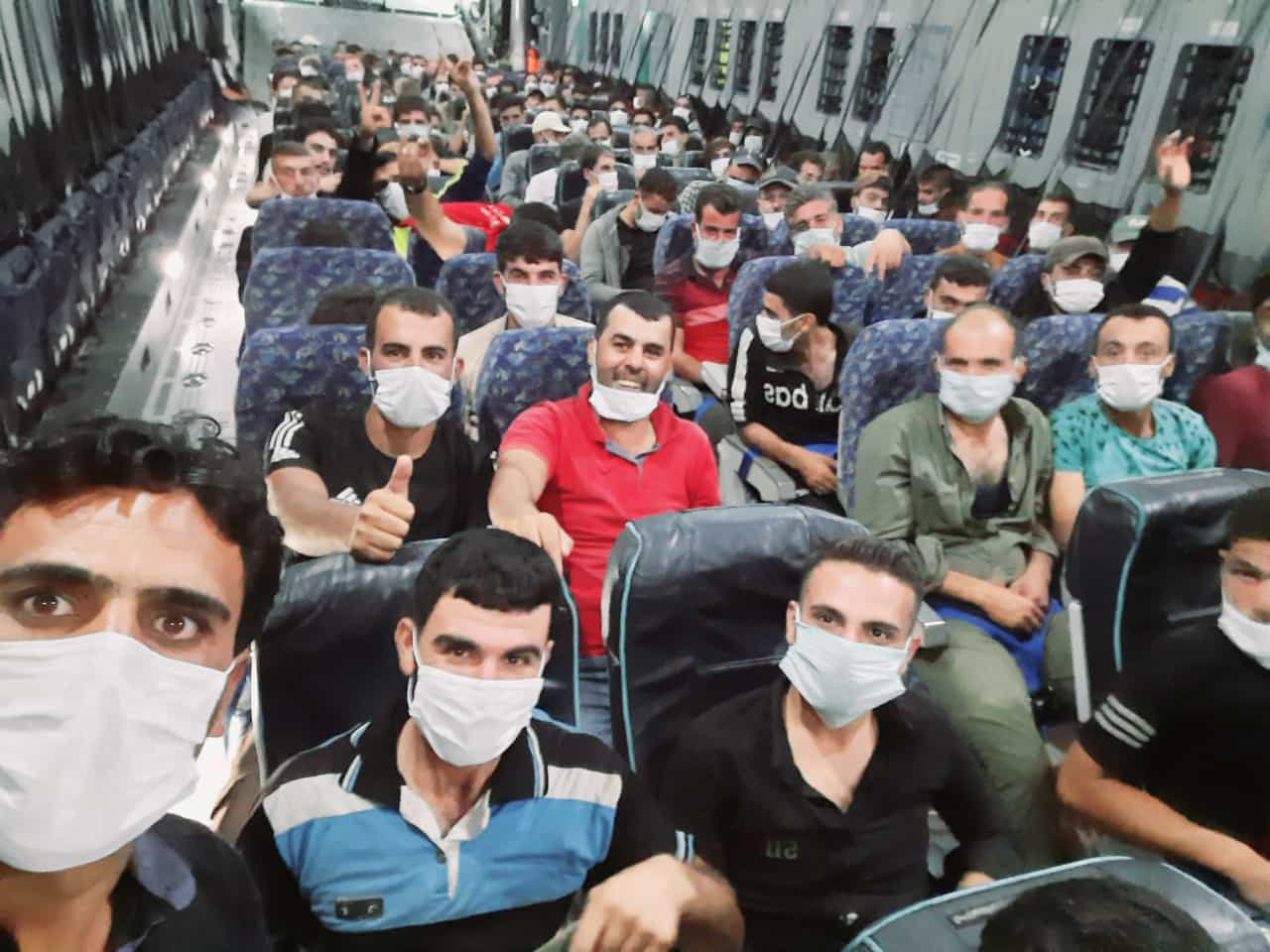 A photo purportedly of Syrians on their way to Azerbaijan (social media)