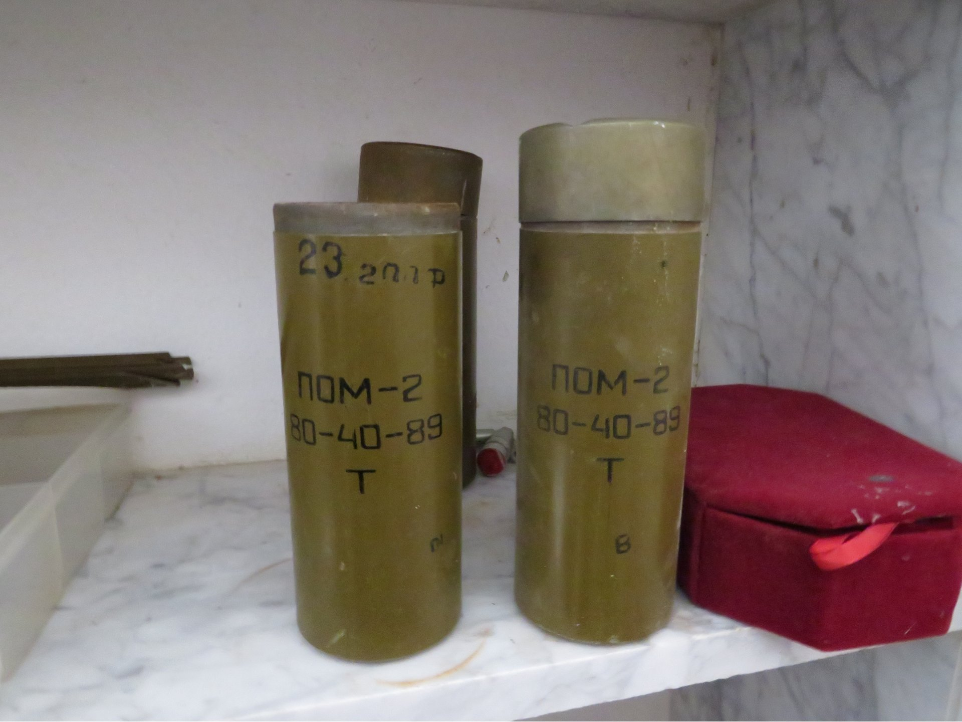 PAM-2 anti-personnel mines recovered from the Tripoli battlefield (MEE/Daniel Hilton)