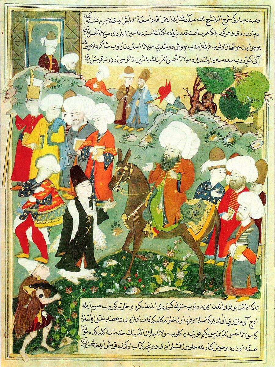 Illustration de la rencontre entre Rumi et Shams à Konya (Wikimedia Commons)