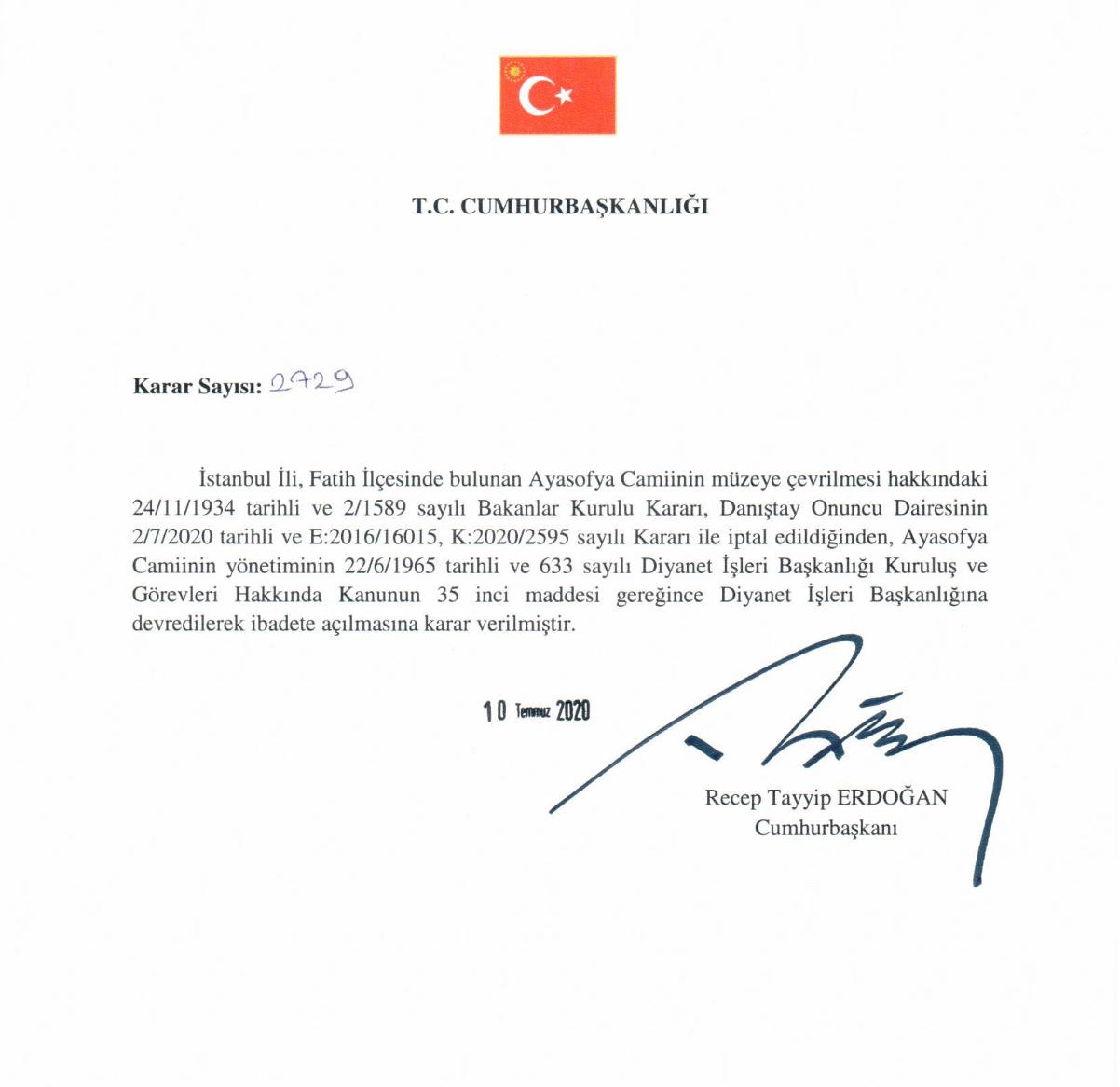 Hagia Sophia: Erdogan signs order to convert museum into mosque ...