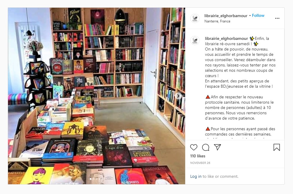 The Parisian bookshop stocks a diverse collection of literature, including books discussing the experience of migration (Instagram)